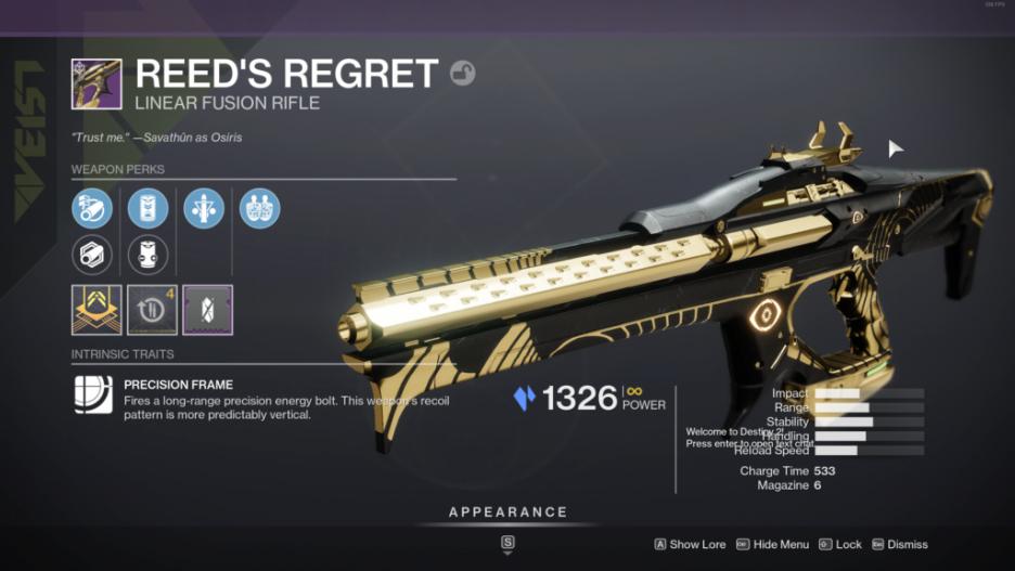 Destiny 2 Reed's Regret God Roll
